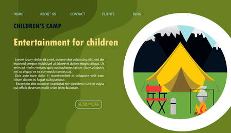 Vector illustration of the site for children s camping, health camps and tourism. Flat illustration of the main page of the mobile app with a tree house, tent, campfire and camping equipment against the background of mountains and forests.Banner for a website, ad, laptop or smartphone.