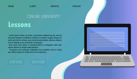 Vector illustration of a website for distance learning, online education and work. A flat illustration of the main page of the mobile app with a stack of books, a Cup of coffee, and a laptop for conducting online lessons, conferences, and viewing homework from home.