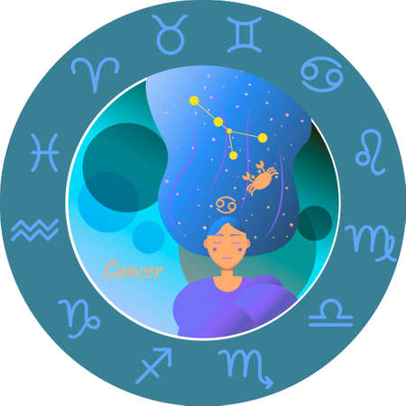 Vector illustration of the zodiac sign by horoscope. A girl with long hair of the starry sky and the constellations of Aries, Taurus, Gemini, cancer, Leo, Virgo, Libra, Scorpio, Sagittarius, Capricorn, Aquarius and Pisces. Astrology with signs and division into the elements of water, earth, fire and air.