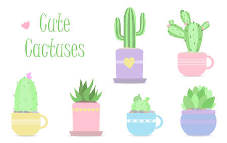 Set of cute vector cacti in pastel colors. Flat vector illustration in modern design. Six isolated cacti and succulents in beautiful flower pots for home decoration. can be used for cards, invitations or like sticker