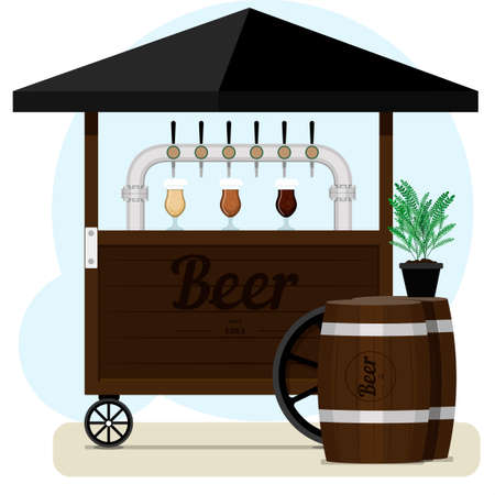 Street stall with draught beer for sale. Wooden cart with different types of craft beer, wooden barrels and beer glass glasses. Street point for selling light alcohol in parks, on the street, on the beach, at a fair or square. Colorful bar with an umbrella and an outdoor cafe. Flat vector illustration