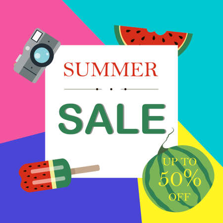 Flat  illustration of a summer sale of goods. Advertising on a banner, website or flyer about 50 percent discounts on goods, products, and clothing during the summer sale period. Melting prices from the summer heat. Bright brochures with an advertising offer
