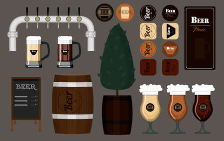 A set of glasses, mugs and barrels of beer. Vector illustration of beer coasters under the glasses menu for beer bar tap for beer and wooden barrels. Items for the interior of the bar. Flat vector images of glass glasses with different varieties of light and dark beer. Logos and objects isolated on a gray background Ilustrace