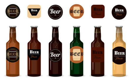 Set of vector glass beer bottles. Isolated bottles with different types, grades and firms of beer on a white background. Logos beer coasters under the beer glasses. Illustration for a bar, store, or restaurant. Realistic green and brown beer bottles set isolated vector illustration