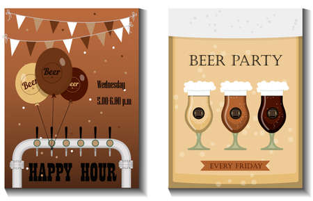 A set of vector flyers for a beer party, festival or advertising. Flat illustration with beer mugs, beer bottles, glasses and holiday decorations.