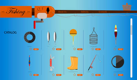 laptop screen with an online store for fishing and fishing equipment. Flat illustration of the site with products and their delivery to the buyer s home. A smartphone app or website selling everything for fishing. Ads on your hobby s home page and a delivery box on your laptop.