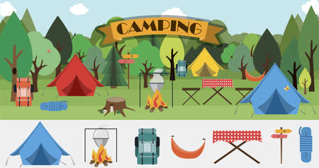 A set of flat icons for camping. Equipment for Hiking, mountaineering and camping-a set of icons and infographics. Tree house, tent, camping utensils, backpack and scout tools. Ilustrace