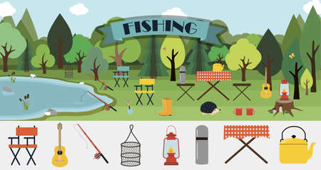 A set of flat vector leaflets for summer fishing, Hiking, picnic and tourism. Big banner with a picnic table, basket of mushrooms, fire, fishing rod, guitar and camping equipment. Picture with a rear view of lake and forests. Illustrations for an ad, website, app, banner, or booklet. Ilustrace
