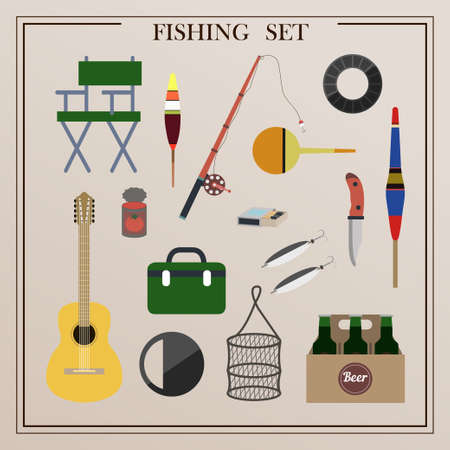 A set of items for fishing with nets and a fishing rod. Vector illustrations of isolated items for catching sea animals. Ilustrace