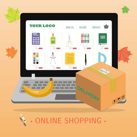 Online store selling school supplies with home delivery. Vector illustration of a website on a laptop screen selling products over the Internet. Ads for mobile apps that sell pens, pencils, notebooks, paints, backpacks, brushes, paper clips, rulers, and books. Back to school, autumn banner. Ilustrace