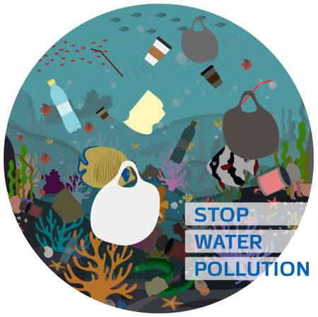 Flat vector illustration for protecting water and the environment from pollution. A picture of the underwater world with corals, fish, Moray eels, algae, polluted with garbage, plastic and waste. Poster for a call to recycle garbage and clean up the world s oceans.