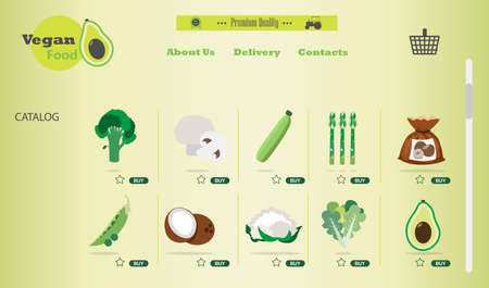 online store of vegan and vegetarian food. Flat illustration of the site with products and their delivery to the buyer s home. A smartphone app or website selling everything for a healthy lifestyle and nutrition. Ads on your hobby s home page and a delivery box on your laptop. Ilustrace