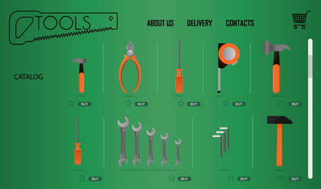 Online store of tools for repair and construction on a laptop . Flat illustration store with fast home delivery. The smartphone app, the main web page for the site. An open laptop with an online tool store page on the screen.