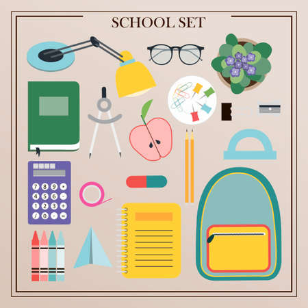 A set of vector office supplies, school and office attributes. Flat design of insulated pencils, pens, rulers, backpack, globe, paints, palettes, brushes, books, notebooks, compasses, telescope. Illustration for a store, school, University, or office supplies. Top view of written objects