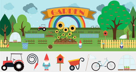 A large set of vector items for the garden. Flat garden illustration design with flowerbeds, tractor, fence, sprouts, flowers, birdhouse, trees, garden decor and equipment. Cute cartoon picture with a set of isolated items on a Botanical theme. Summer illustration, eps 10
