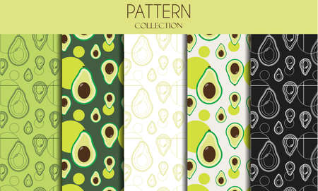 A set of seamless patterns with avocado. Flat design illustration with fruit in stylish green colors. Monochrome pattern . Black and white composition. Tropic exotic fruit. Health food, fabric wallpaper textile print sticker. Actual summer market and restaurant cafe cuisine. Ilustrace