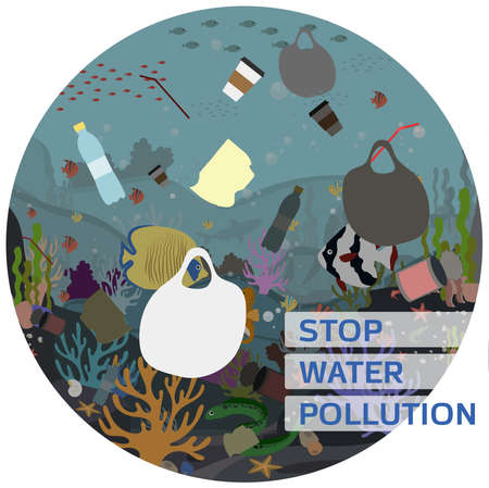 Flat  illustration for protecting water and the environment from pollution. A picture of the underwater world with corals, fish, Moray eels, algae, polluted with garbage, plastic and waste. Poster for a call to recycle garbage and clean up the world s oceans.