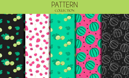 A set of seamless patterns with berries. Flat design of illustrations with gooseberries, strawberries, watermelon, cherries and raspberries. Vector patterns in one bright color scheme on a summer theme. Delicious, Botanical illustrations for advertising restaurants, stores, or grocery stores.