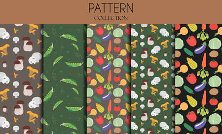 A set of seamless patterns with vegetables. Flat illustration design with peas, mushrooms, cabbage, avocado, broccoli, carrot, onion, tomato, cucumber and corn . Vector patterns in one bright color scheme on a summer theme. Delicious, Botanical illustrations for advertising restaurants, stores, or grocery stores. Organic, vegetarian products for a healthy lifestyle.