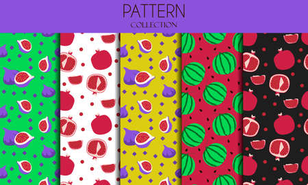 A set of seamless patterns with berries. Flat design of illustrations with pomegranate, watermelon and figs. Vector patterns in one bright color scheme on a summer theme. Delicious, Botanical illustrations for advertising restaurants, stores, or grocery stores. eps 10
