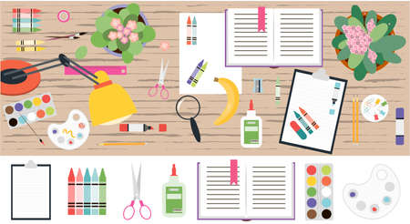 Top view of a working wooden table with stationery. Flat vector illustration of a work space for a schoolboy, student, or office worker. A set of isolated items books, notebooks, markers, pens, folders, paints, scissors, paper clips, palettes, glasses, rulers. Banner for a web, ad, or app.