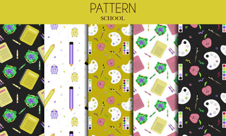 A set of seamless patterns with school stationery items. Flat vector design for school, office, store or website. Set of items books, notebooks, markers, pens, folders, paints, scissors, paper clips, palettes, glasses, rulers. Bright background for web, ad, or app.