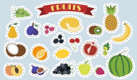Set of flat vector fruits and berries. Bright stickers with the image of cute summer vegetable products in cartoon style. A set of isolated healthy food products. Illustrations for a grocery store, banner, gardening, restaurant, or menu.