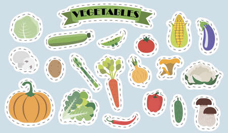 Set of flat vector mushrooms and vegetables. Bright stickers with the image of cute summer vegetable products in cartoon style. A set of isolated healthy food products. Illustrations for a grocery store, banner, gardening, restaurant, or menu.