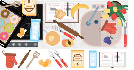 Top view of the kitchen countertop with a stove, sink, kitchen equipment, food and ready-made pastries. Flat vector illustration of the kitchen interior with a cookbook and a set of cooking attributes. Image for a restaurant, home interior, menu, or cooking site.