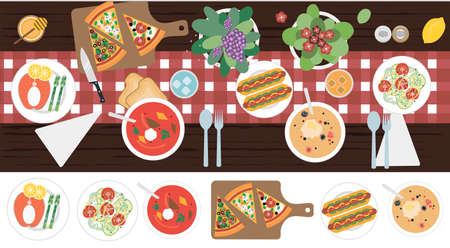 The view from the top on the table with dinner for two. Vector illustration of a dining table with soup, hot dogs, salad, pizza, fish, meat, juice and appliances. Flat design for a restaurant, menu, home interior dining room or cooking site. Wooden table with tablecloth, flowers and serving. Ilustrace
