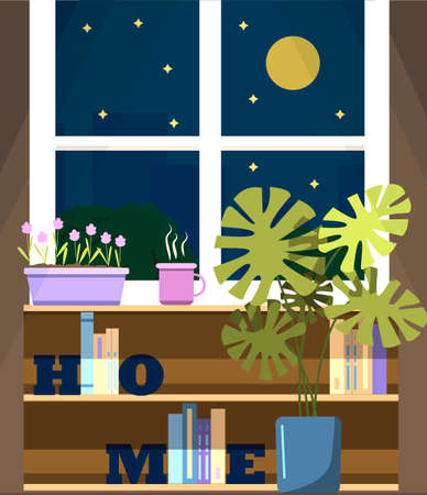 Vector window with a view of the night city, with a flower on the windowsill and a Cup of tea. A flat illustration of a room with bookshelves, letter book holders, a home flower in a monstera pot, and a window with views at the moon, high-rises, and trees. Cozy house in warm summer weather.