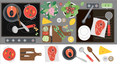Top view of the kitchen countertop with a stove, sink, kitchen equipment, food and ready-made food for dinner. Flat vector illustration of a kitchen with a set of cooking attributes. Meat, fish, vegetables and soup, healthy home food. Image for a restaurant, home interior, menu, or cooking site.