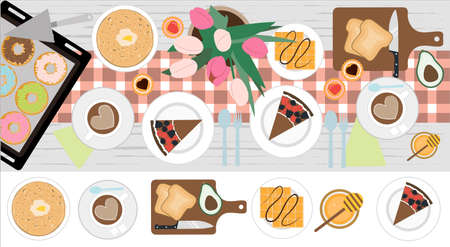 Top view of a table with lunch or Breakfast for two. Vector illustration of a dining table with coffee, cake, cookies, avocado toast, pancakes, waffles, doughnuts and appliances. Flat design for a restaurant, menu, home interior dining room or cooking site. Wooden table with tablecloth, flowers and serving.