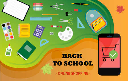 Online store selling school supplies with home delivery.  illustration of a website on a laptop screen selling products over the Internet. Ads for mobile apps that sell pens, pencils, notebooks, paints, backpacks, brushes, paper clips, rulers, and books. Back to school, autumn banner. Reklamní fotografie