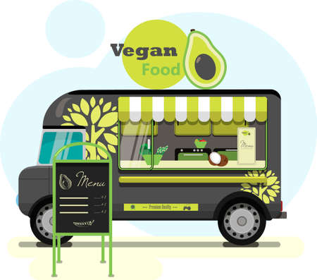 Street food truck with vegetarian food.  flat illustration of a vegan diner on wheels with a striped awning, an eco tree pattern on a van, and an advertising stand. Stylish retro illustration of fast food in parks and on city streets. Vegetables, fruits, berries and nuts, a healthy snack or lunch in a big city and with delivery.  of the business machine.