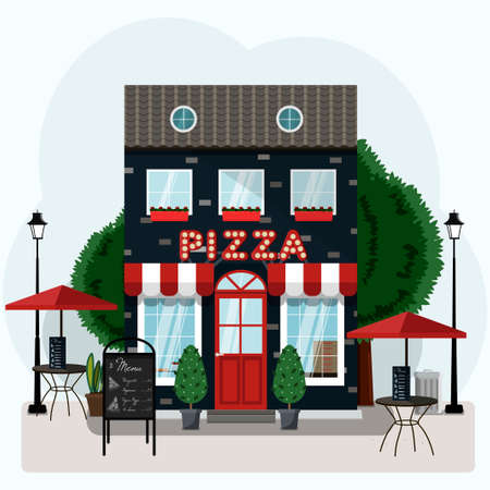 Facade of a pizza restaurant with outdoor tables and home delivery.  illustration of a pizzeria with a red and white canopy, Billboard and potted plants. Nice building of an Italian restaurant in European style. Flat illustration in blue and red colors.