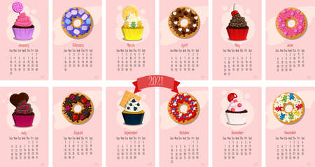 Calendar for 2021 with sweet cupcakes and donuts. Twelve months of the year with flat vector illustrations for January, February, March, April, may, June, July,August, September, October, November, December. Calendar pages with cute pink sweets, frosting, toppings, cream. Delicious cartoon sweets. Vector calendar template for kids.