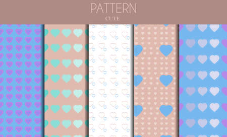 A set of seamless cute pastel patterns with hearts and rainbows. Flat vector graphics design for background, textiles. Beautiful girly ornament for a postcard, website, holiday or wedding, Valentine day card.