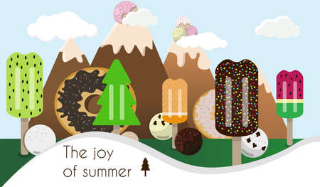 Cartoon picture of a landscape of ice cream and sweets. Mountains with Gelato balls and trees.. Flat  illustration of a fruit . Poster for a pastry shop, summer collection, and dairy products. Vegan fruit ice cream. Ice cream cone  set isolated on background. Ice cream scoop image in flat style. Reklamní fotografie