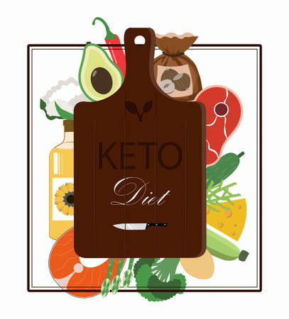 cutting Board and a set of products for the keto diet. Flat illustration with fat healthy foods for ketosis. Salmon, steak, avocado, vegetables, oil. Healthy ketogenic diet. Poster for advertising and familiarization with the keto diet. Reklamní fotografie