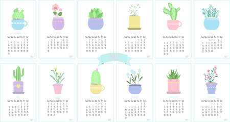 Calendar for 2021 with cute cactuses and plants . Twelve months of the year with flat vector illustrations for January, February, March, April, may, June, July,August, September, October, November, December. Calendar pages with cute botanical cartoon pictures. Vector calendar template for kids. Illusztráció