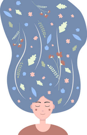 Flat illustration of a girl with flowers and leaves in her long dark hair. Cute  image of a young girl with closed eyes, dreaming of flowers and summer. Abstract illustration in pastel colors.