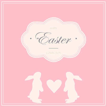 Easter holiday cards with rabbit bunny silhouettes in soft pastel colors. Retro background design for cards and invitations.