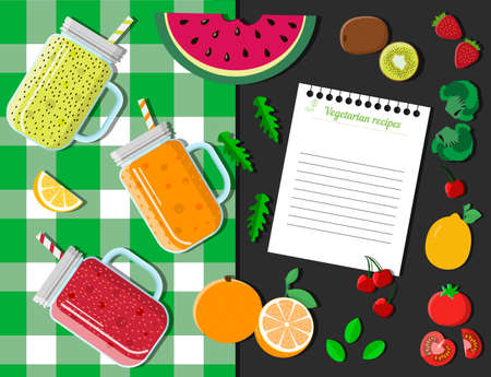 Top view of a table with glasses of smoothies, fruits, vegetables and berries. Flat  illustration of a berry cocktail recipe on a checkered tablecloth with watermelon, strawberries, citrus, tomatoes, kiwi, broccoli and cherries. A white torn sheet of paper from a recipe pad. Vegetarian smoothie recipe.