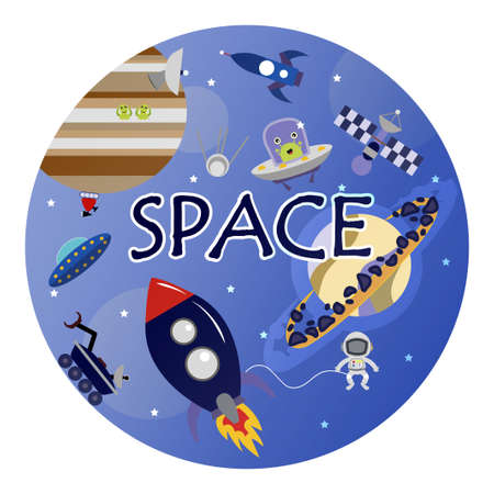 Cartoon space illustration with a rocket, astronaut, planets and aliens. Bright cute, children s  drawing about spaceships, flying saucers and shuttles. Space with Saturn, Jupiter and stars. Illustration in blue purple and blue tones. Planets, rockets and stars. Cartoon spaceship icons. Kid s elements for scrap-booking. Childish background.