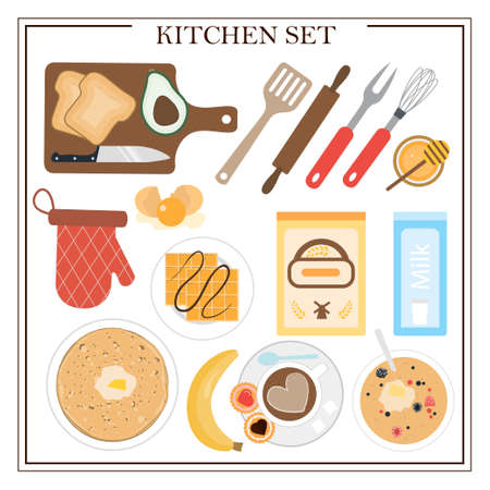 Set of kitchen items and dishes for breakfast. Vector illustration of a dining table with coffee, cake, cookies, avocado toast, pancakes, waffles, doughnuts and appliances. Flat design for a restaurant, menu, home interior dining room or cooking site. Wooden table with tablecloth, flowers and serving.