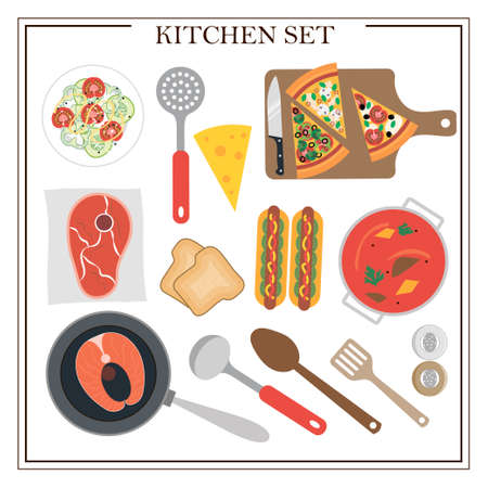 Set of kitchen items and dishes for dinner. Vector illustration of a dining table with soup, hot dogs, salad, pizza, fish, meat, juice and appliances. Flat design for a restaurant, menu, home interior dining room or cooking site. Wooden table with tablecloth, flowers and serving. Ilustrace