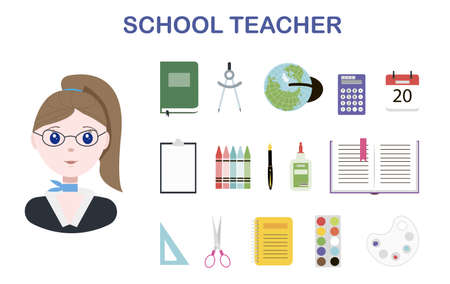 A young school teacher and a set of school office. Flat vector illustration design with isolated items for school, office and University. Image of a cute teacher in glasses and a business suit. A picture for distance learning, advertising, or postcards.