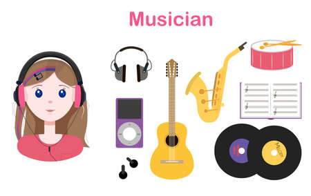 Young cute girl with long hair in headphones. Set of flat vector musical instruments guitar, drum, saxophone, music notebook, audio player, phonograph records. Vector illustration of a woman with big blue eyes, music lover and musician. Little cute girl enjoys listening to music with headphones