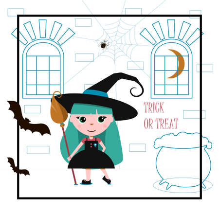 A little witch in a big black hat with a broom and a potion pot. Flat vector postcard for Halloween. An illustration with a greeting inscription, spiders, garlands and a funny girl in a cute dress. Autumn card for all saints day with orange background
